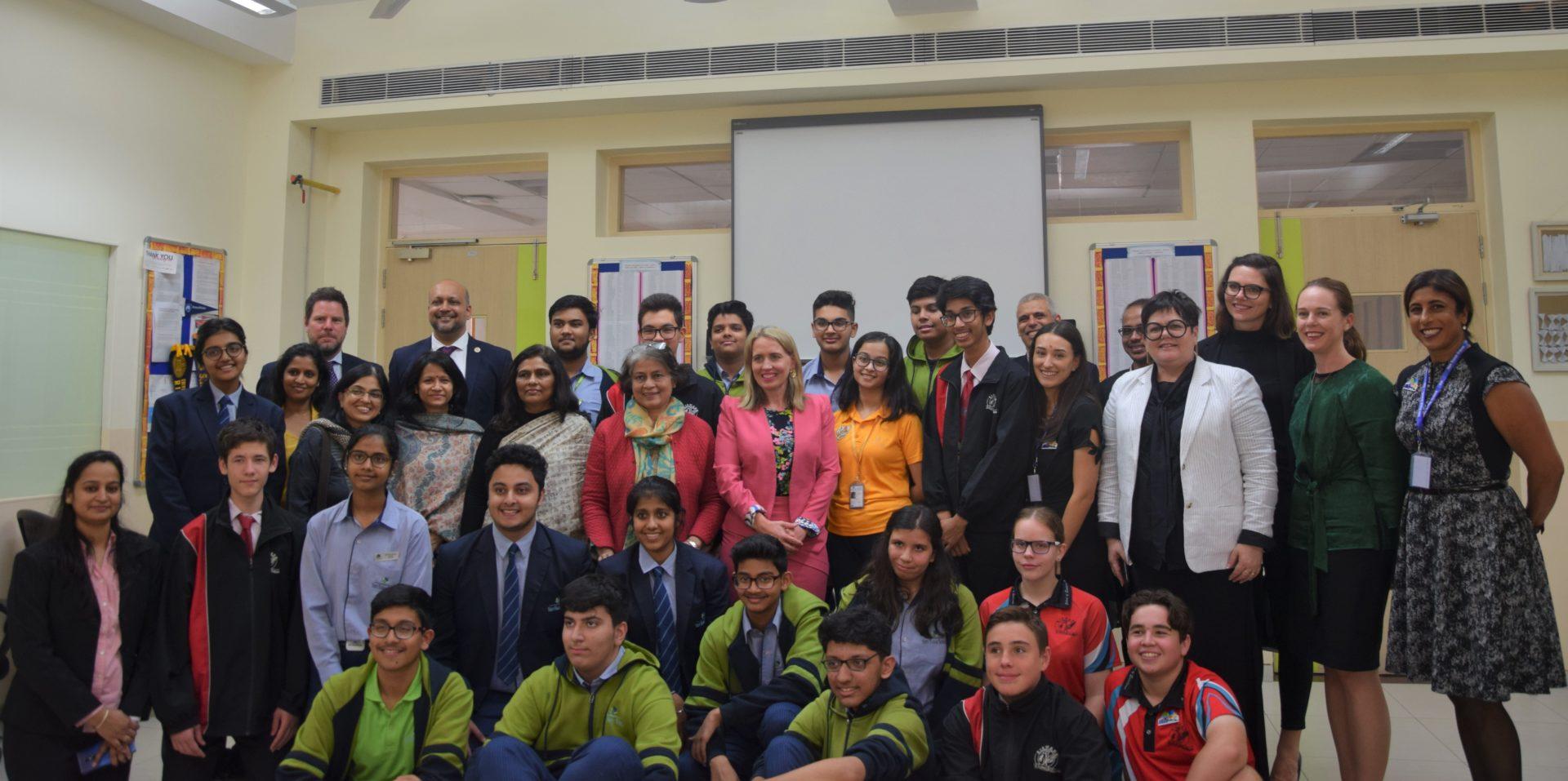 Minister Kate Jones, Queensland (Australia) (centre) at Shiv Nadar School