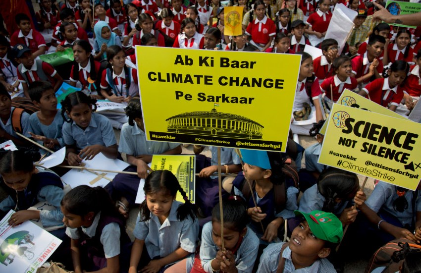 Indian students skip school to support the Global Protest on Climate Change Action