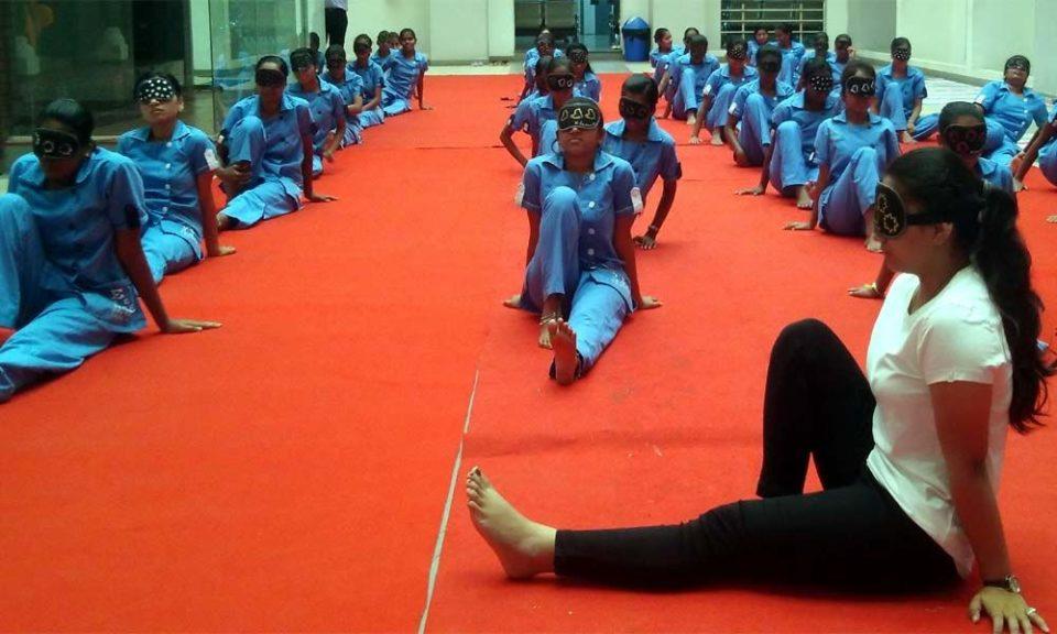 Blindfold Yoga Session performed at Sankara Eye Hospital