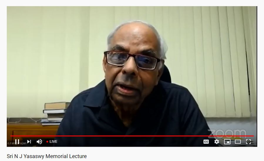 ICFAI,N J Yasaswy Memorial Lecture virtually